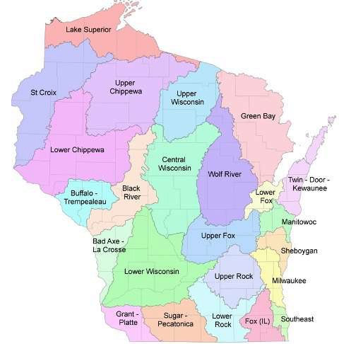 Map of Wisconsin Watersheds